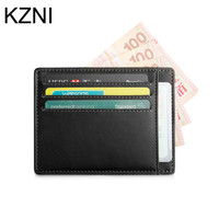 KZNI 100 Real Photo Genuine Leather Card ID Holders Coin Purses Holders Men And Women Leather