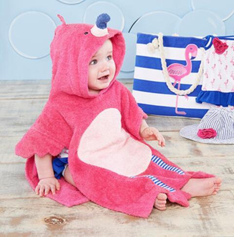 Maat 60x60 Cm Rose Flamingo Kinderen Badjas/baby Hooded Strandlaken Poncho