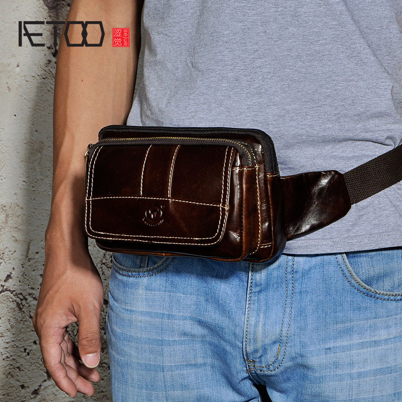 AETOO First layer of scrub oil wax leather leather mens tide cool mobile phone 8-inch small waist chest bag