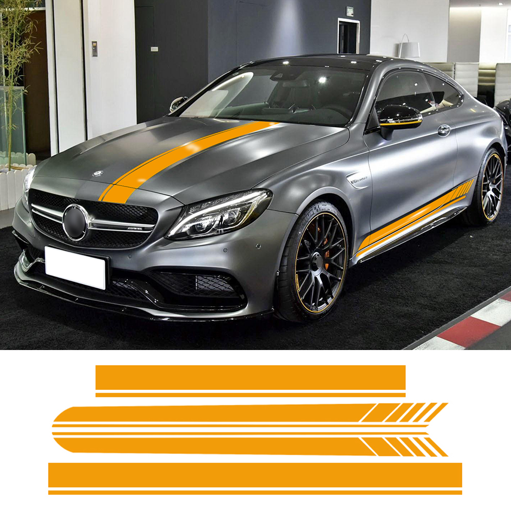 Discount Auto Body Parts >> Edition 1 Side Skirt Hood Roof Racing Stripe Yellow/Black/5D Carbon Vinyl Decals for Mercedes ...