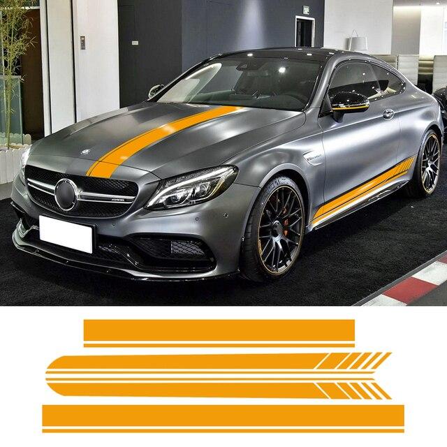 32 43 55 De Reduction Edition 1 Voiture Capot Toit Course Cote Jupe Rayures Vinyle Decalcomanie Autocollant Pour Mercedes Benz C63 Coupe