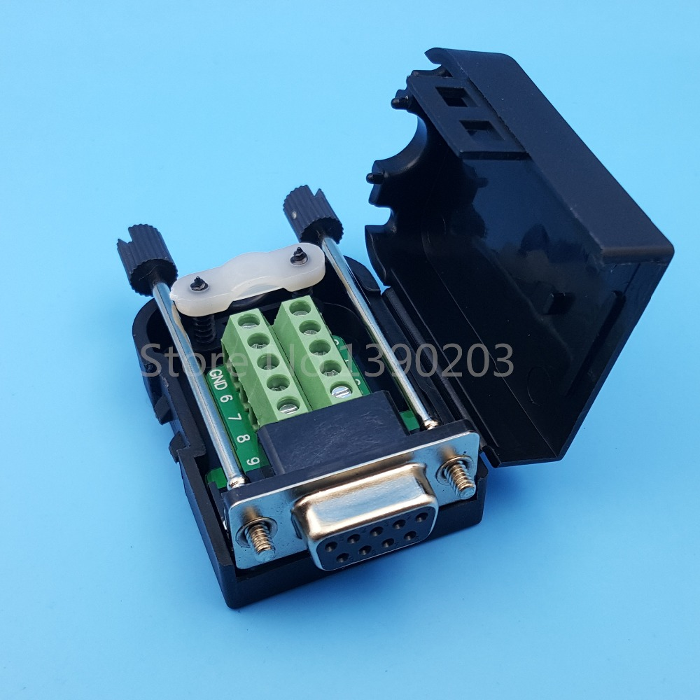D-SUB DB9 Female 9Pin Plug Breakout Board Terminals Connector Screw Type Black Plastic Cover hot factory direct wholesale db9 d sub vga male plug 9pin port terminal breakout pcb rs232 485 2 row screw