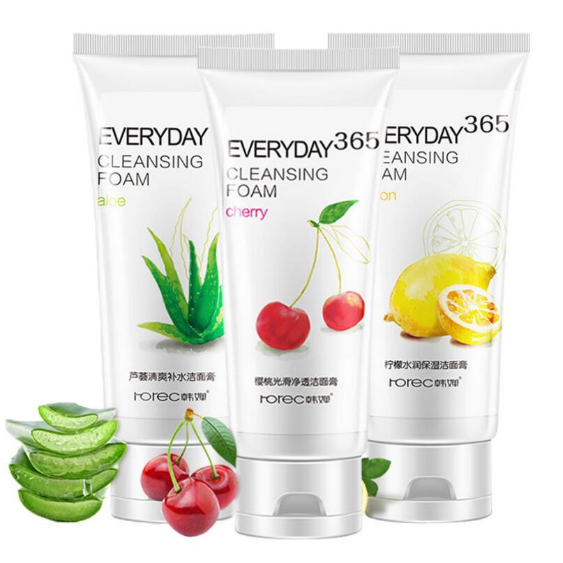 HANCHAN Natural Aloe Vera Cherry Lemon Facial Cleanser Hydrating Whitening Shrink Pores Acne Treatment Oil Control Cleanser