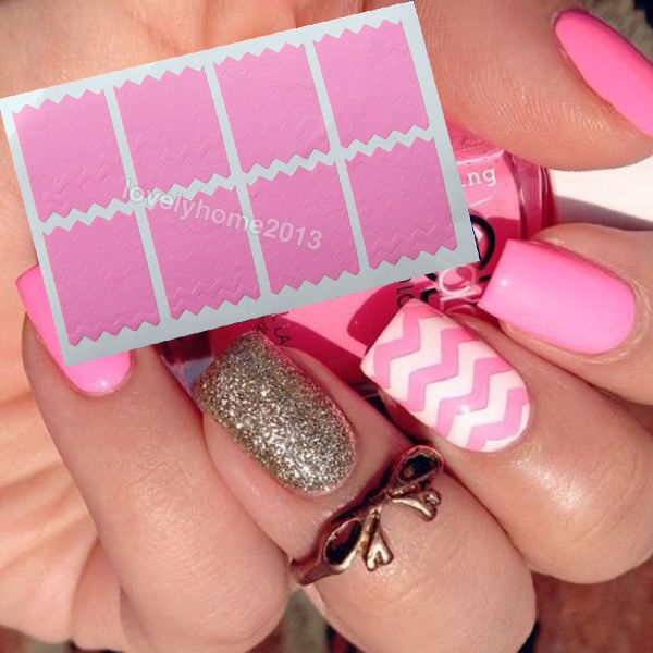 Multi Function 80 Tips Zig Zag Nail Art Polish Stencil Sticker Vinyl Guide Stripe French Pink