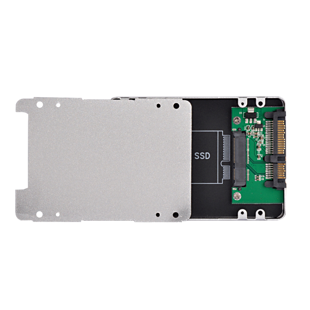 Balts alumīnija sakausējuma korpuss standarta 2,5 collu SATA uz SATA SDD adaptera korpusa 22Pin pārveidotāja adapteris ārējais korpuss datoram