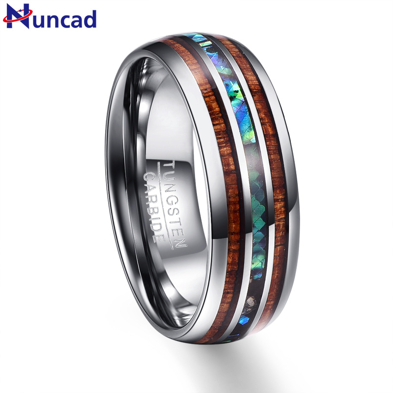 2019 koa wood abalone inlay high polish 8mm width 100% genuine wedding band elegance tungsten carbide rings for men(China)