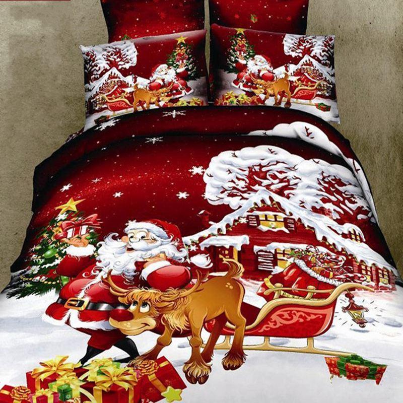 Biancheria Da Letto Natalizia.Us 103 6 Babbo Natale Bedding Set Di Cotone Biancheria Da Letto Di Natale Set Trapunta Comforter Copripiumino Lenzuolo Di Lusso Regalo Alce