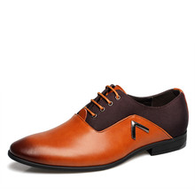 New Genuine Cow Leather Men Oxford Shoes Big Size 38-44 Orange Brown Black Men's Bussiness Office Wedding Flats Free Shipping