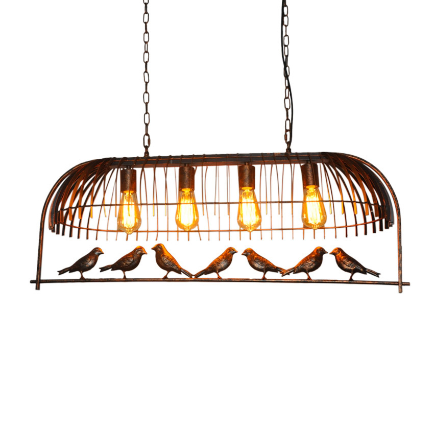 Vintage Pendant Lamps Industrial LOFT Bar Bird Decor Hanging Lamp Lamparas Kitchen Birdcage Lamp Chandeliers with Iron LampshadeVintage Pendant Lamps Industrial LOFT Bar Bird Decor Hanging Lamp Lamparas Kitchen Birdcage Lamp Chandeliers with Iron Lampshade