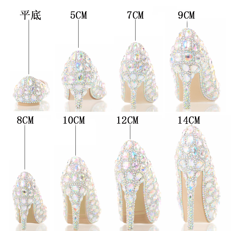 The New 2016 Seven Color Glass Slipper High Heels Bride Shoes Lighter Wedding Shoes Show Club for Women's Shoes Crystal Shoes the new 2017 white satin high with the bride shoes waterproof slipper wedding shoes picture taken single shoes for women s shoes