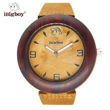 IBigboy Amantes Mens Relojes de Primeras Marcas de Lujo Relojes de Madera De Madera Busines Gran Reloj de Los Hombres Correa de Cuero Genuino Reloj de Pulsera como Regalo