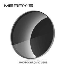 MERRYS Photochromic סדרת 1.56 1.61 1.67 מרשם CR 39 שרף אספריים משקפיים עדשות קוצר ראיה