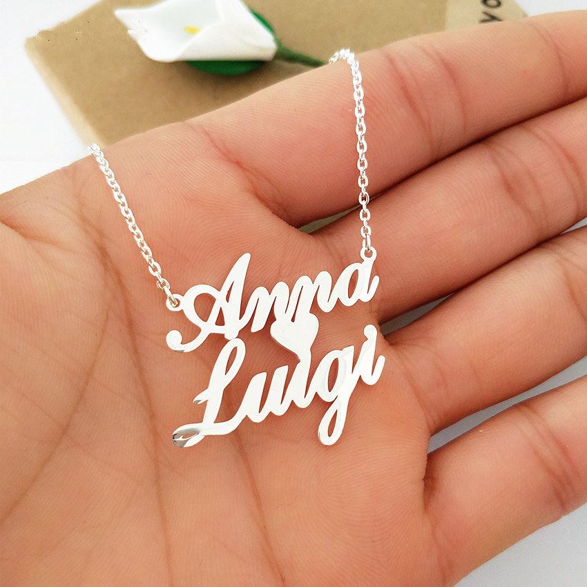 цена на Personalized Custom Double Names Necklace Customized Love Heart Chokers Necklaces Handwriting Nameplate Couple Jewelry Gift BFF