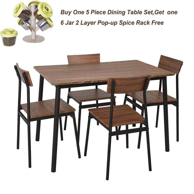 US $214.99 |5 Piece Wood Dining Table Set Home Kitchen Table and Chairs for  4 Person with Metal Legs,Retro Brown-in Dining Room Sets from Furniture on  ...