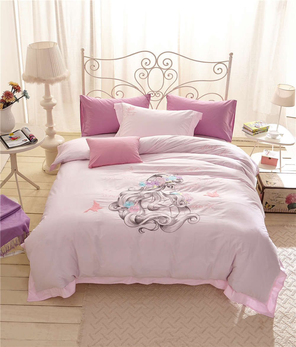 Pink Drawing Princess Bedding Set Girls Bedspreads Bed Covers Sheet Applique Embroidery Cotton Woven Single Twin Full Queen SizePink Drawing Princess Bedding Set Girls Bedspreads Bed Covers Sheet Applique Embroidery Cotton Woven Single Twin Full Queen Size