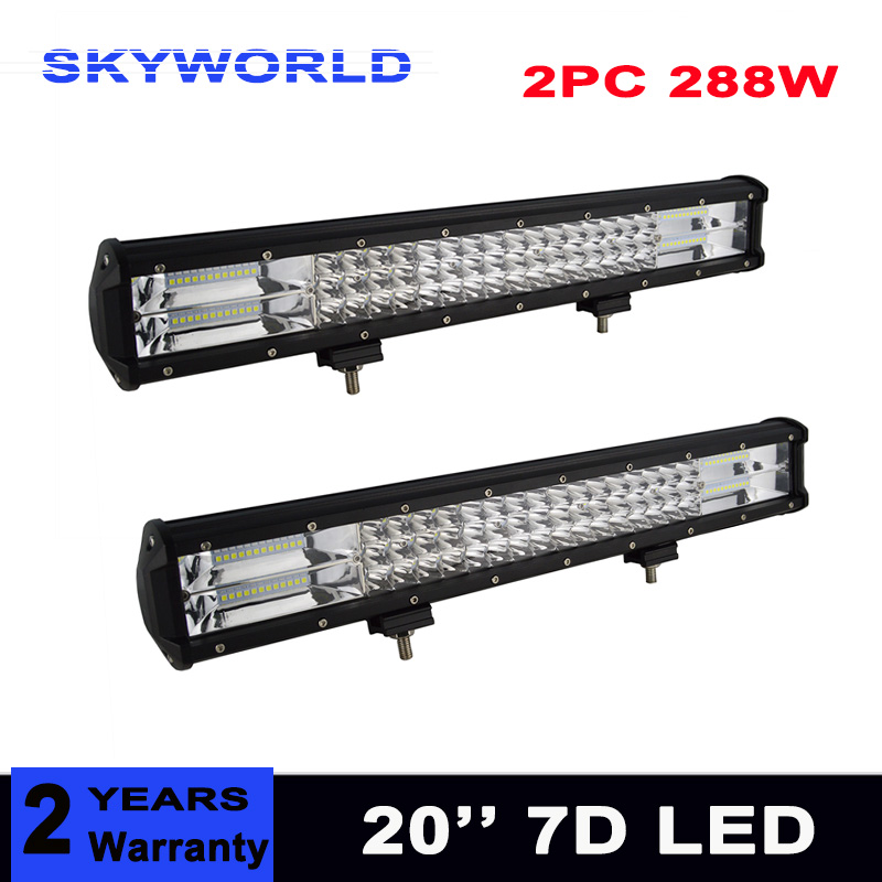 2pcs 7D 3-Row 20'' 288W Combo LED Light Bar 4x4 Offroad LED Work Light Bar 12v 24v For Car ATV SUV Truck Trailer Driving Lamp 43inch led light bar 200w single row led work light combo offroad 4x4 led bar light car fog driving lamp for ford f150 f250 f350