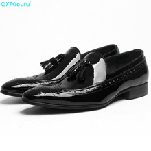 Fashion Genuine Leather Shoes Tassel Men Dress Shoe Pointed Oxfords Shoes Lace Up Brogues Luxury Men Formal Shoes