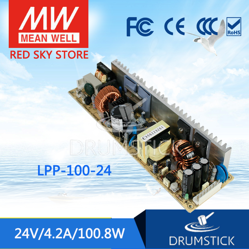 Selling Hot MEAN WELL LPP-100-24 24V 4.2A meanwell LPP-100 24V 100.8W Single Output with PFC Function original mean well lpp 100 24 single output 4 2a 100w 24v meanwell power supply with active pfc open frame lpp 100