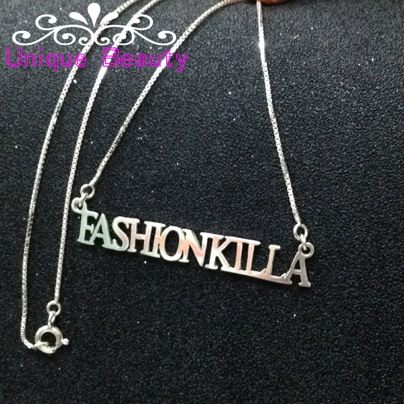 Wholesale Name Necklace Gold plate Solid Silver All Capital Letters font b Custom b font font