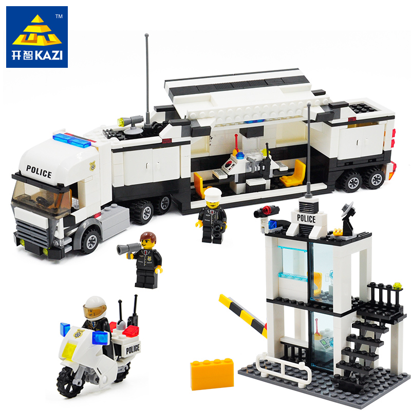 Kazi Police Truck Sets Police Staion with 3 Figure Building Blocks 511pcs Educational DIY Bricks Legoingly Toys For Children