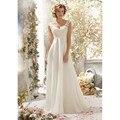 2017 New Design Vestido de Noiva da Festa de Casamento Vestidos de Renda Chiffon Branco/Marfim vestido de Noiva Vestido de Praia Vestidos de Casamento