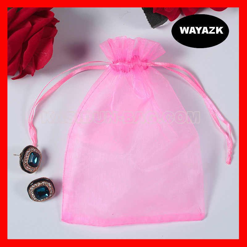 (500 шт./лот) оптовая продажа качественных прозрачных тканевых подарочных сумок из органзы на шнурке