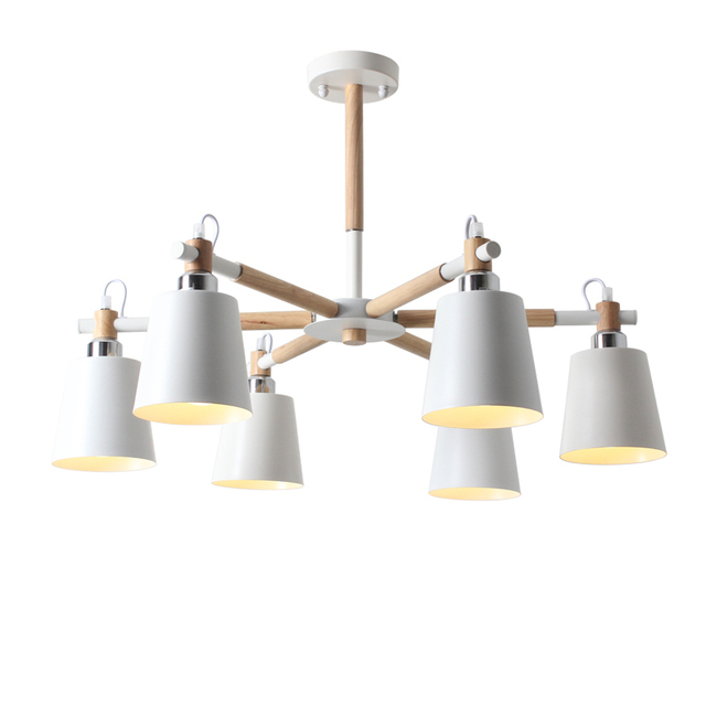 Acheter 6 t tes blanc noir m tal lustre for Lampe suspension salon