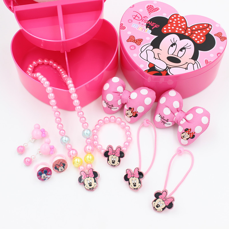 Disney girls toys kids makeup toys Minnie frozen princess necklace set ring earrings princess children's rubber band set gift
