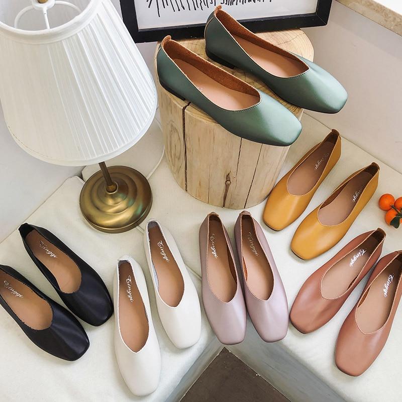 Туфли женские без шнуровки, лоферы, квадратный носок, плоская подошва, оксфорды, карамельные цвета, весна 7390