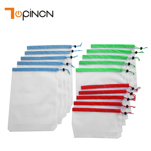 15pcs Reusable Mesh Produce Bags Washable Bags for Grocery Shopping Storage Fruit Vegetable Toys Sundries Organizer Storage Bag