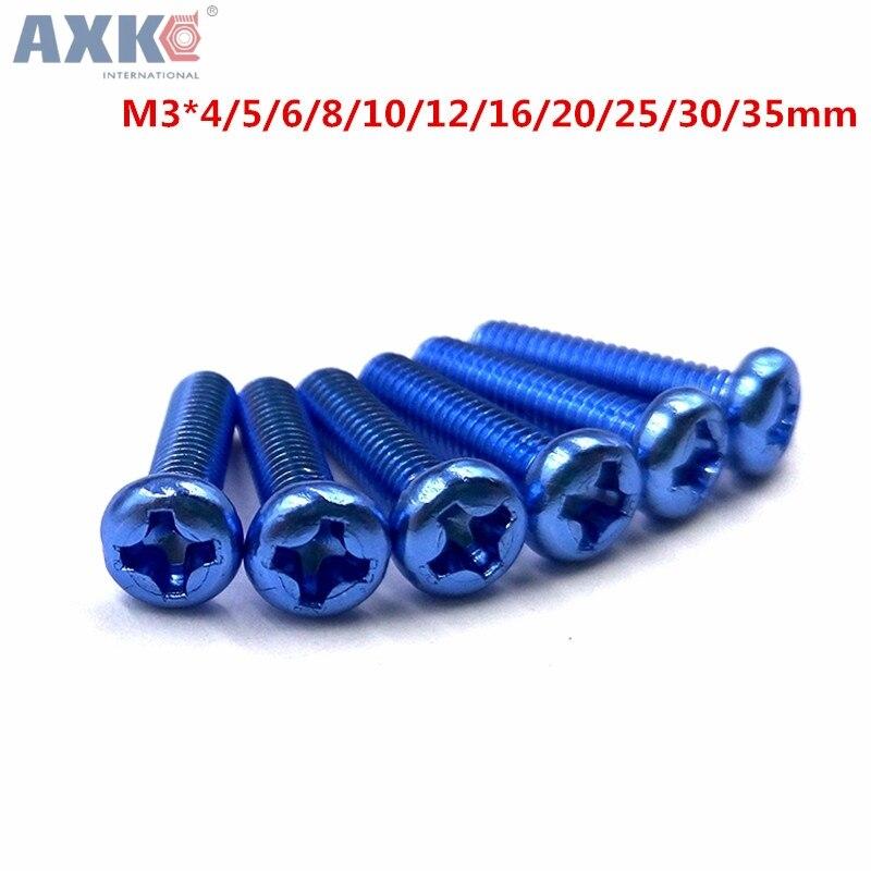 AXK M3 Aluminum Alloy color Phillips Screws Round Head Bolts Cross Slot Screw Bolt Royal blue b43465 u6258 m3 aluminum electrolytic capacitors screw terminal 2500uf 500v