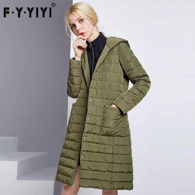 FYYIYI Women's   Down   Jacket Long Hooded Single-breasted Women's   Down   Jacketes Office Lady White Duck   Down     Coat   Fashion Button