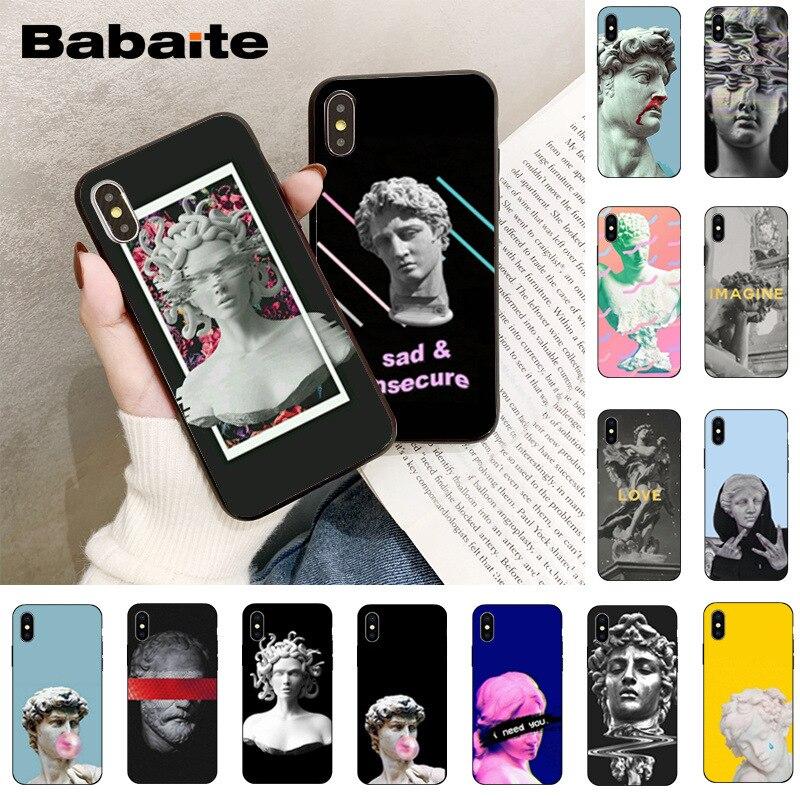 Babaita Alternative David statue art Smart Cover Black Soft Phone for Apple iPhone 8 7 6 6S Plus X XS MAX 5 5S SE XR Mobile Case