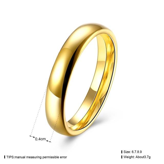 Купить женское кольцо золотого цвета из нержавеющей стали 1 шт 4 мм
