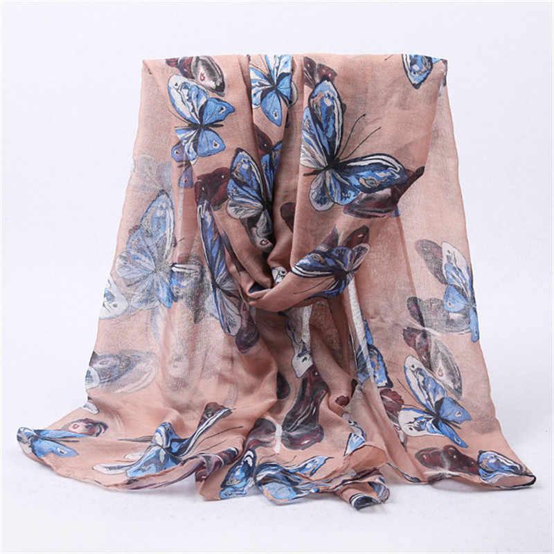 新ファッション女性蝶のプリントロングスカーフ綿ヒジャーブ Bufanda Mujer ネックラップショールの冬のスカーフストール