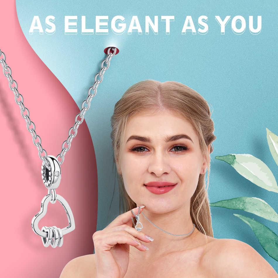 Interlocked Coração dos namorados Presente do Dia 925 Prata Esterlina Oscila Encantos Beads Caber Pulseiras Pandora Originais Mulheres Amor Pingente