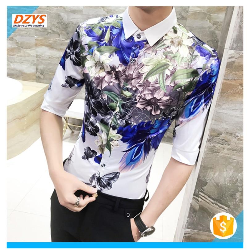 2018 men's Summer dress trend Youth Night shop short sleeve thin floral DZYS YCY shirt