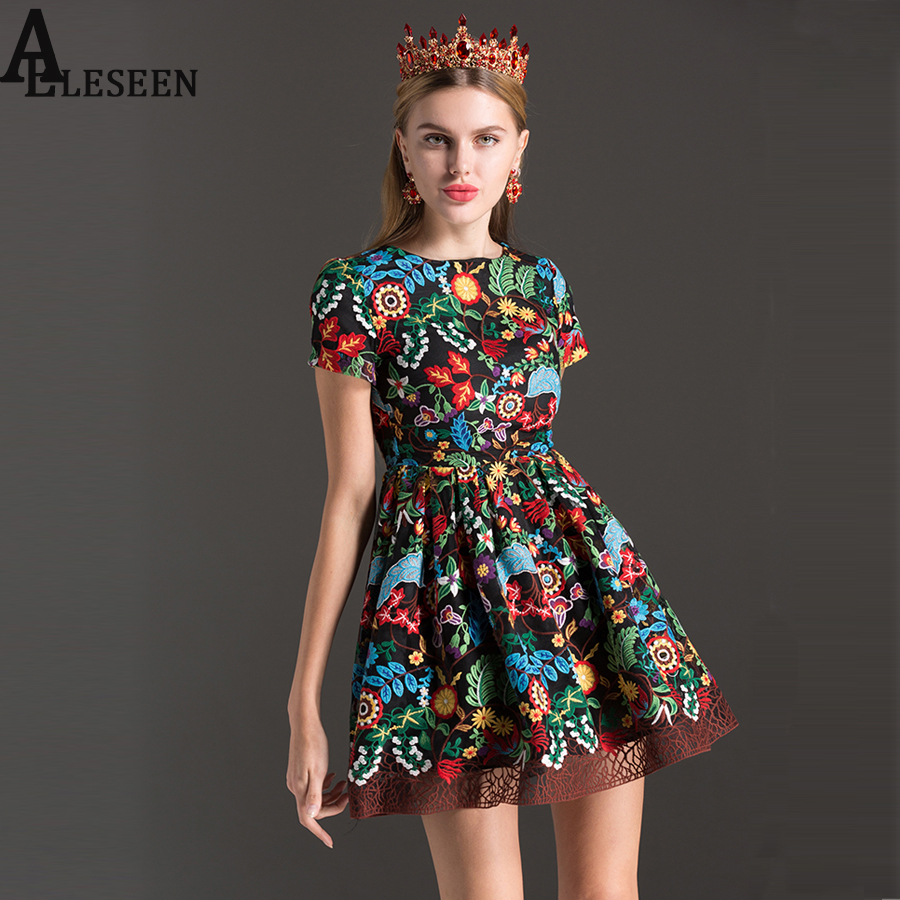 Vintage women dresses 2017 summer high quality fashion colourful vintage women dresses 2017 summer high quality fashion colourful floral embroidery short sleeve new arrival slim a line dress in dresses from womens ombrellifo Choice Image