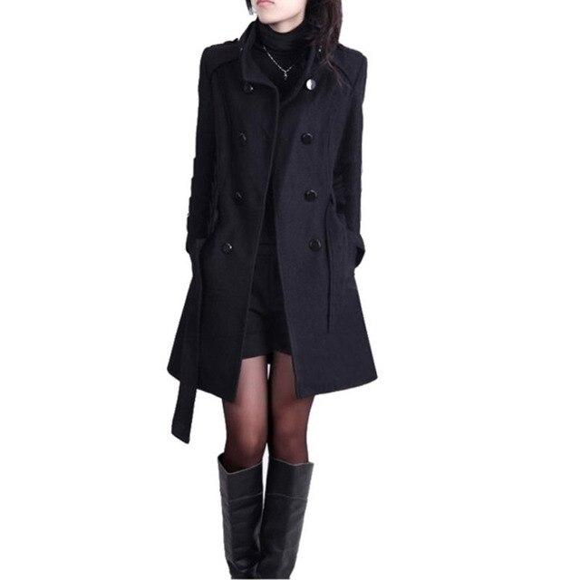 Winter Frauen Mantel Lange Dünne Beiläufige Warme Mode Windjacke