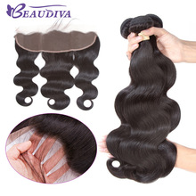 Beaudiva 13 * 4 Øre til Øre Lace Frontal Closure Med Bundler Brasilianske Body Wave Human Hair Bundles Med Lace Closure Non-Remy