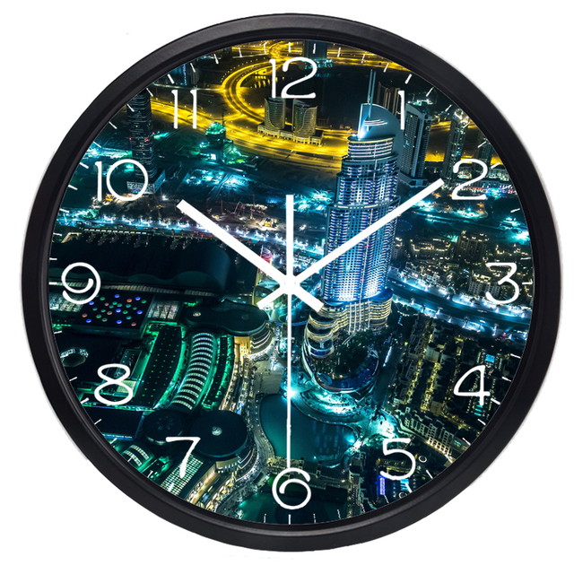 Dubai City Airview Night sky Beauty Light Wall Clock Hot Fashion Silent Large Living Room Real Photo Wall Clock Home Decor