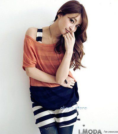 2012 new fashion sexy hit color T + long stripes shall vest two-piece dress