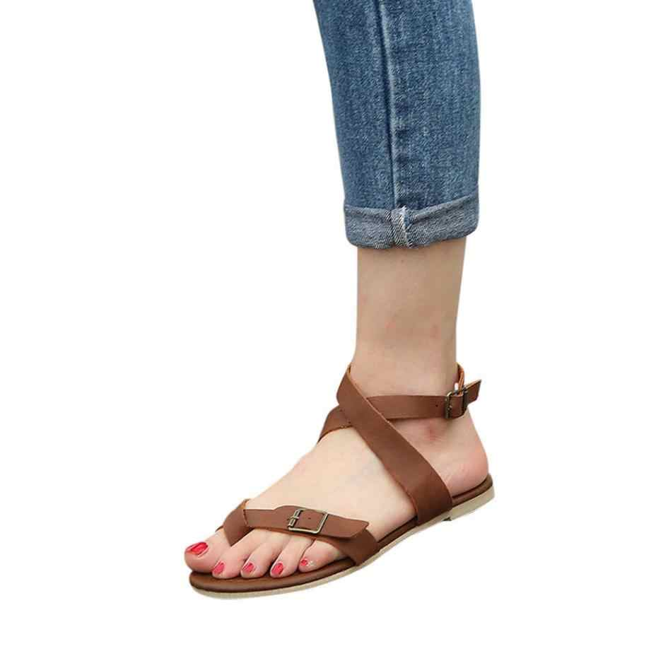 fc100d578768 ... MUQGEW Women Sandals Gladiator Casual Lace Up Flat Sandals Fashion Rome  Tie up Sandals Platform Summer ...