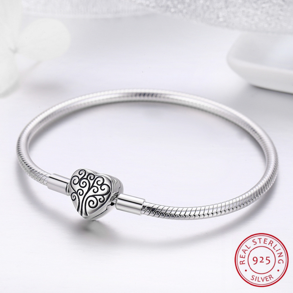 цена на 100% Authentic 925 Sterling Silver Heart Bracelet New Brand Women Family Tree Bracelet For Women Wedding Jewelry Gifts