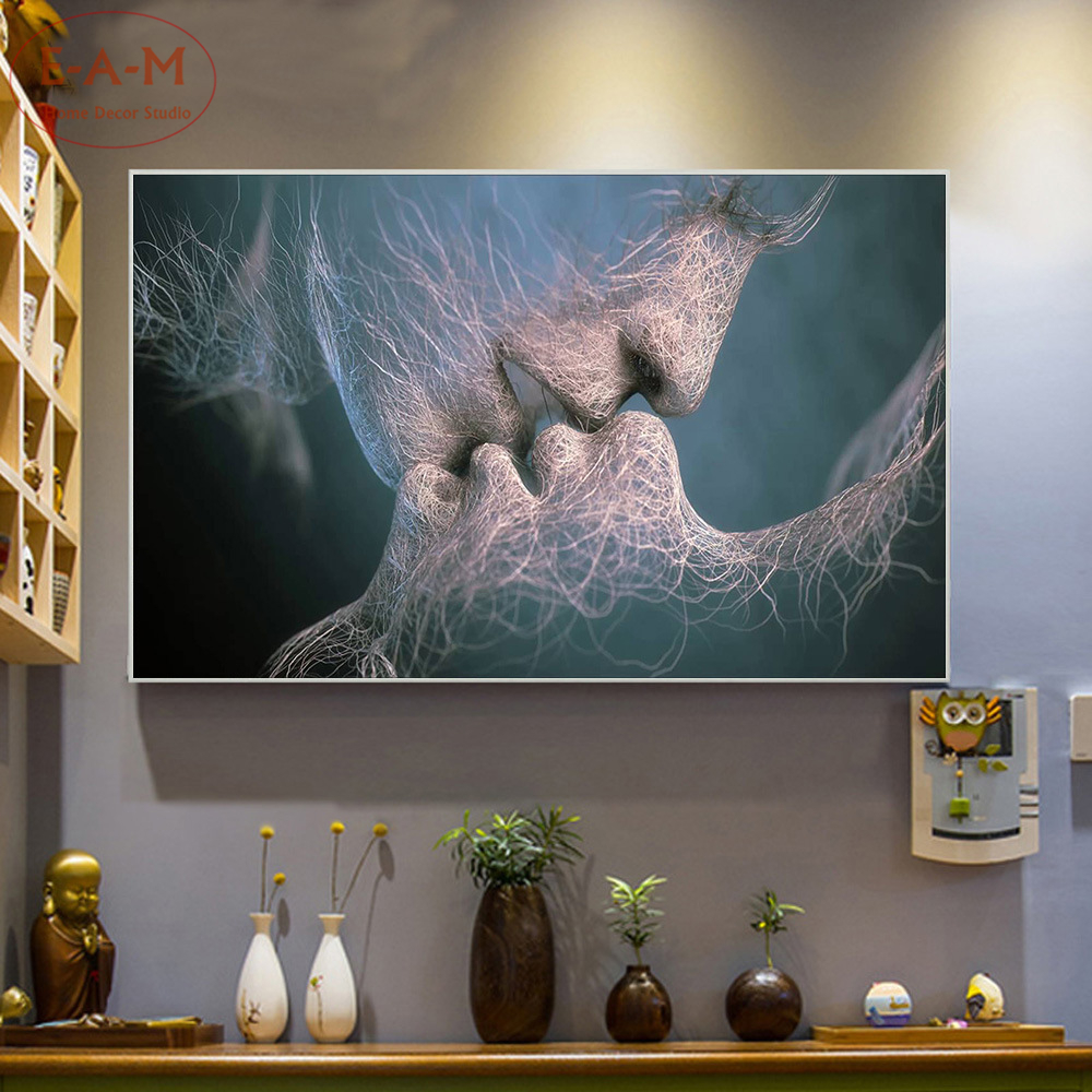 Love Kiss Veins Design Cotton Canvas Art Print Painting Poster Wall Pictures Home Decoration Wall Decor No Frame C in Painting Calligraphy from Home Garden