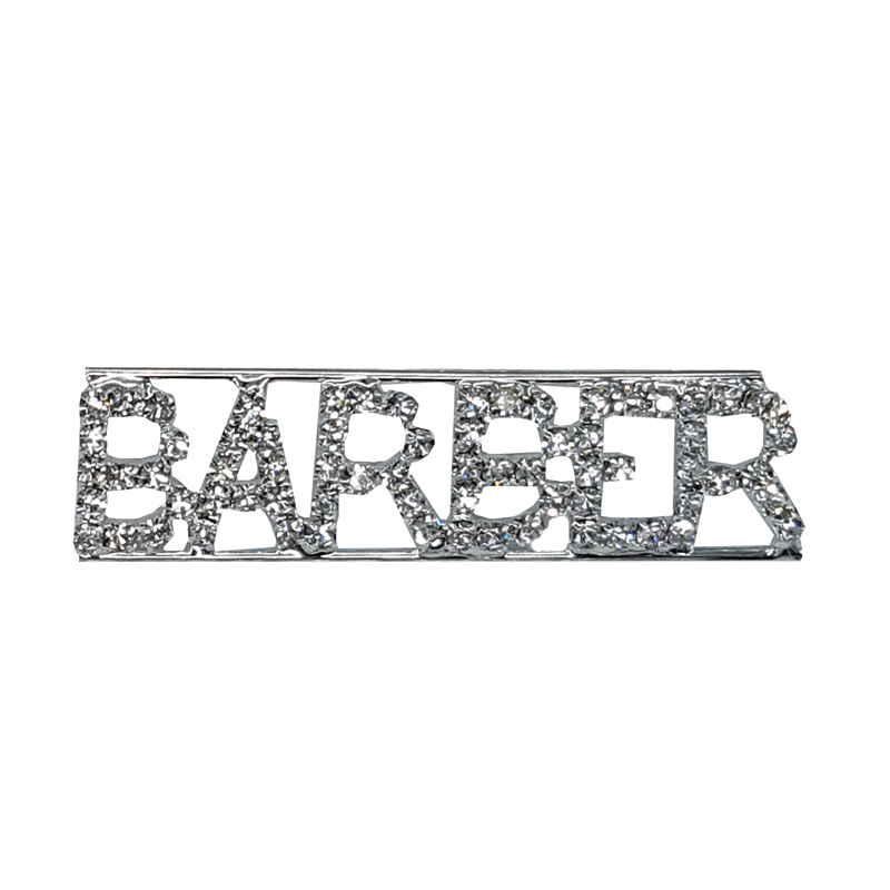 Custom Professions&Jobs Theme Crystal Lapel Pin BARBER Word Brooch Gift Wholesale 6PCS/LOT FREE SHIPPING