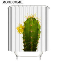 cactus flower bathroom curtain shower bath cortina de ducha extra long WC decoration nature bathroom curtain