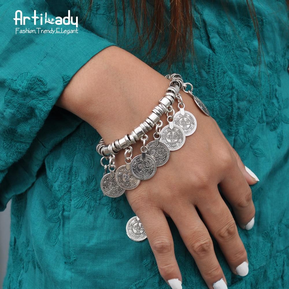 Artilady Boho Coin Bracelet Antic Silver Charm Bracelet