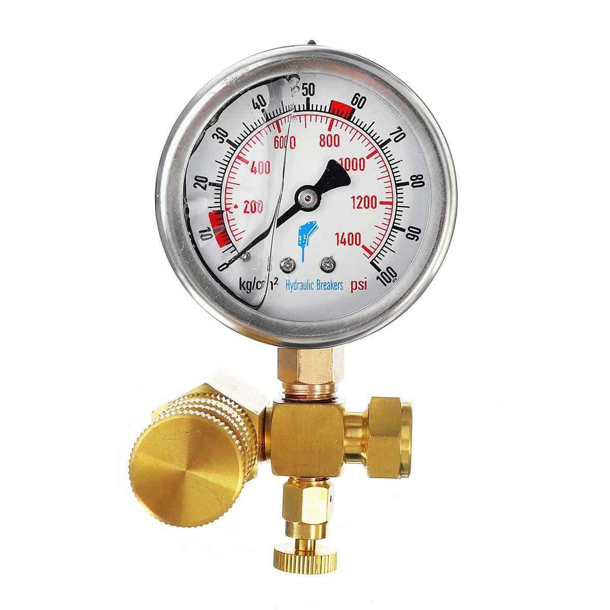 6cm Dia. Pressure Gauges Kit Nitrogen Gas Charging Hydraulic Breaker Hammer Device Measure Accessories For Furukawa Soosan-JY04