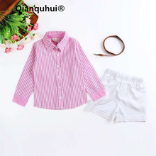 Qianquhui 3 PCS Baby Clothes Gentleman Suit Pink Striped Long Shirt + White Short Pant + Brown Belt Baby Girl Boy Clothing Set